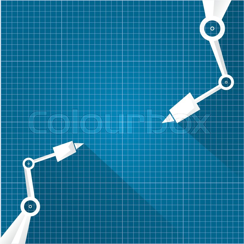 Vector Robotic Arm Symbol On Blueprint Paper Background. Robot Hand.  Technology Background Design Template. | Stock Vector | Colourbox