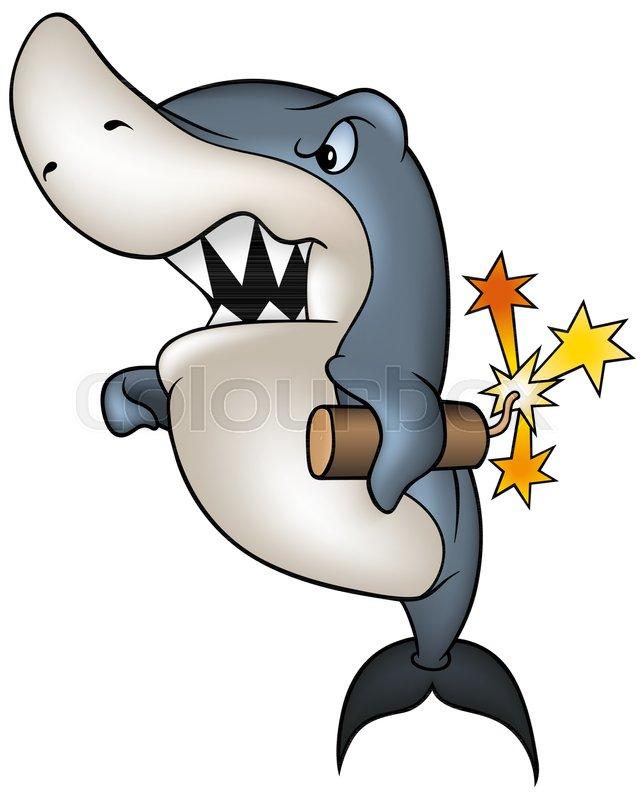 Cartoon Shark Holding Dynamite -     | Stock vector | Colourbox