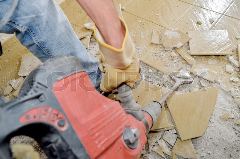 Removing Old Floor Tiles Stock Photo Colourbox