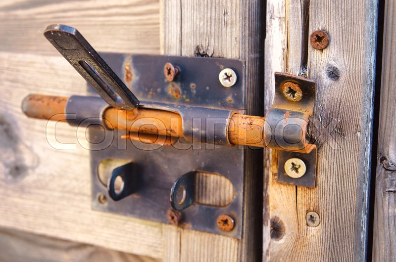 Old Door Lock With Rusty Latch Stock Photo Colourbox