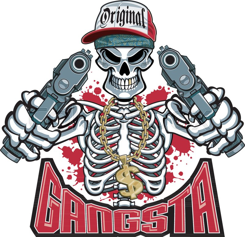 Gangster Skeleton Pointing Guns