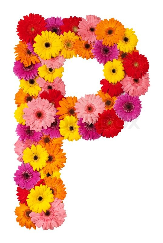 Letter P   Flower Alphabet Isolated On White Background | Stock Photo |  Colourbox  P & L Form