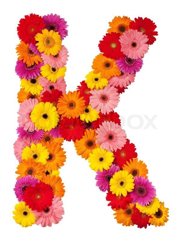 Letter K Flower Alphabet Isolated On White Background