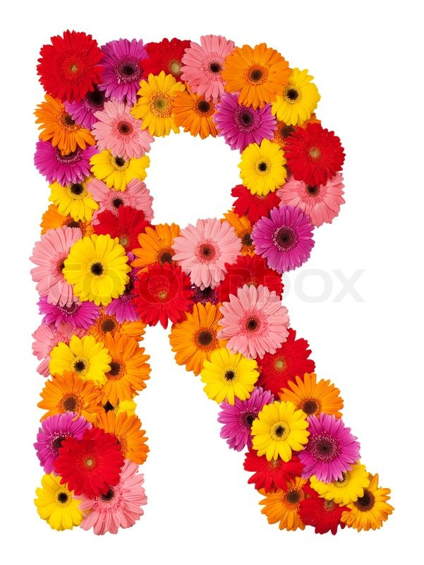 Letter r flower alphabet isolated on white background stock letter r flower alphabet isolated on white background stock photo colourbox altavistaventures Choice Image