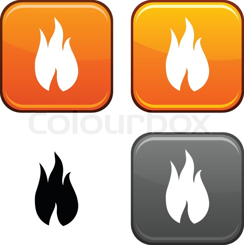 Fire square buttons  Black icon     | Stock vector | Colourbox