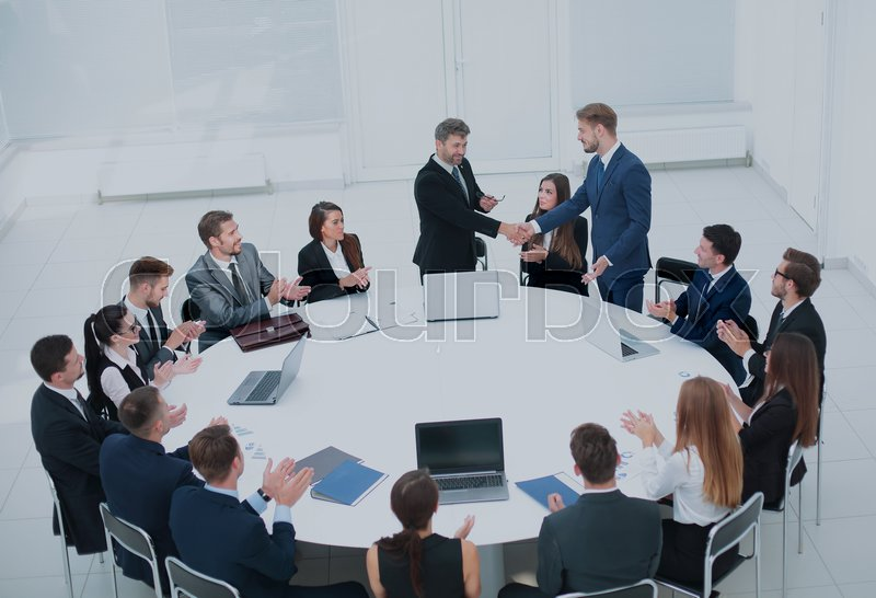 Merveilleux Business Conference. Business Meeting. Business People In Formalwear  Discussing Something While Sitting Together At The Round Table | Stock  Photo | ...