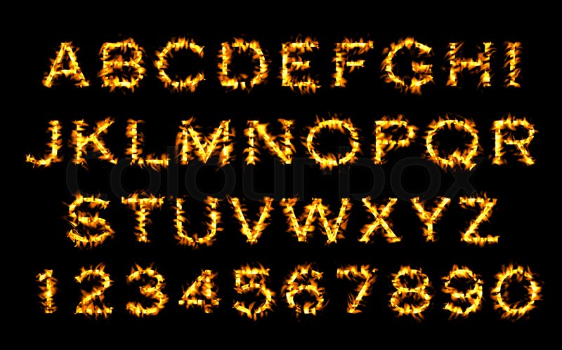 Stock image of 'Fire font collection, Fire text collection. Alphabet of flame'