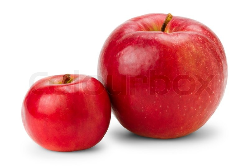 big and small red apples on white stock photo colourbox