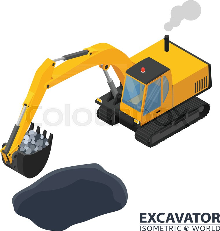 Isometric Excavator Isolated On White Background 3d Icon Construction Digger Special Machinery Vector Illustration