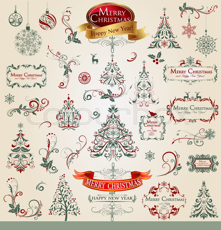 collection of ornamental christmas decorations frames trees snowflakes in vintage style vector