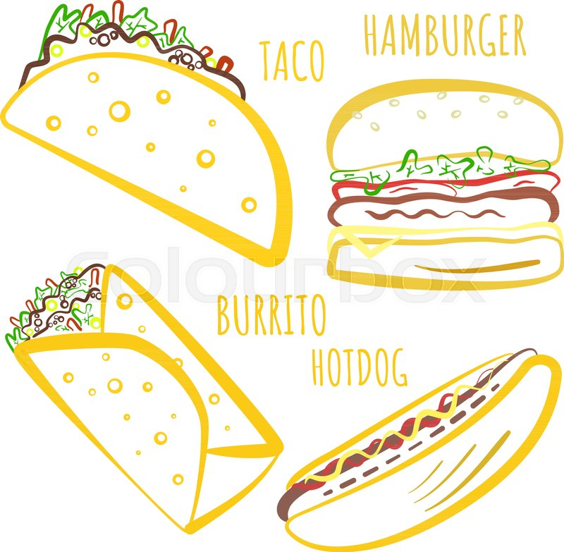 Cute Fast Food Symbols With Colored Outline Cartoon Linear Fastfood