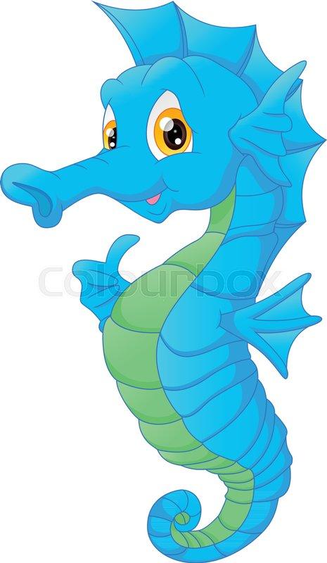 Vector Illustration Of Cute Seahorse Cartoon Stock