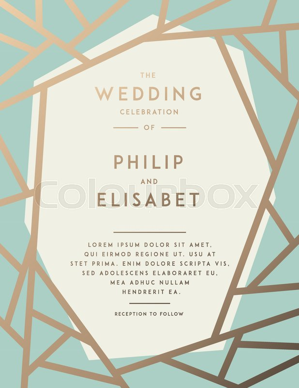 Golden Wedding Invitation with abstract modern pattern. Vector ...