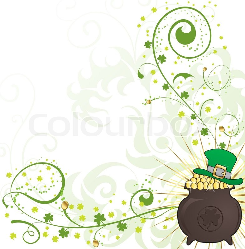 Patrick 39 s day floral frame with hat and cauldron stock for Irish mail cart plans
