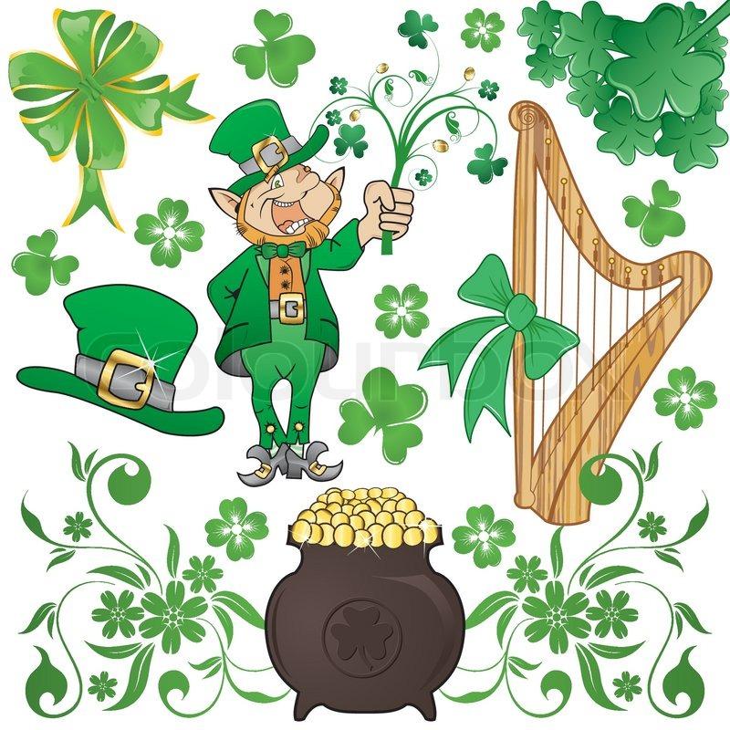 St Patricks Day Set With Clover Leprechaun And Cauldron