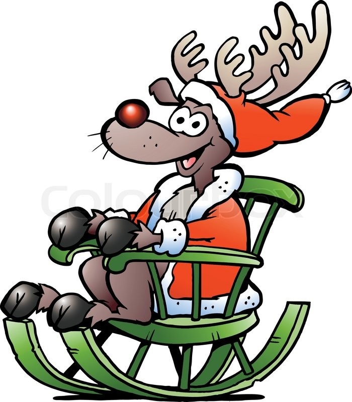 Hand Drawn Vector Illustration Of An Reindeer Sitting In