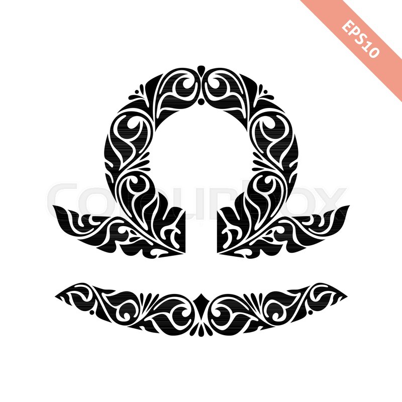 Hand Drawn Black Ornate Horoscope Symbol Libra Zodiac Icon
