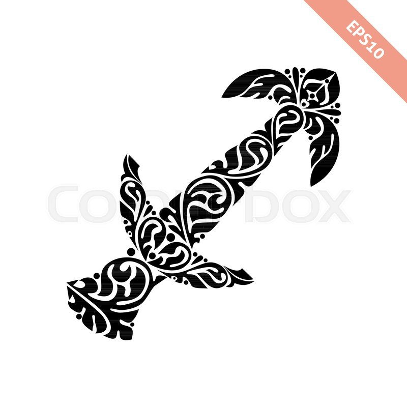 Hand Drawn Black Ornate Horoscope Symbol Sagittarius Zodiac Icon