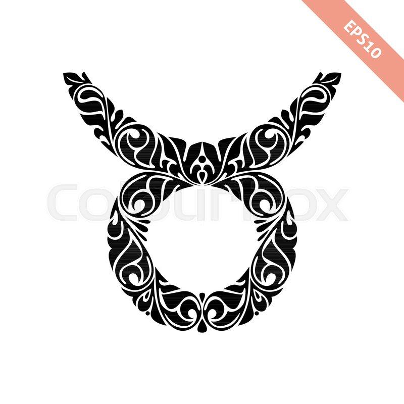 Hand Drawn Black Ornate Horoscope Symbol Taurus Zodiac Icon