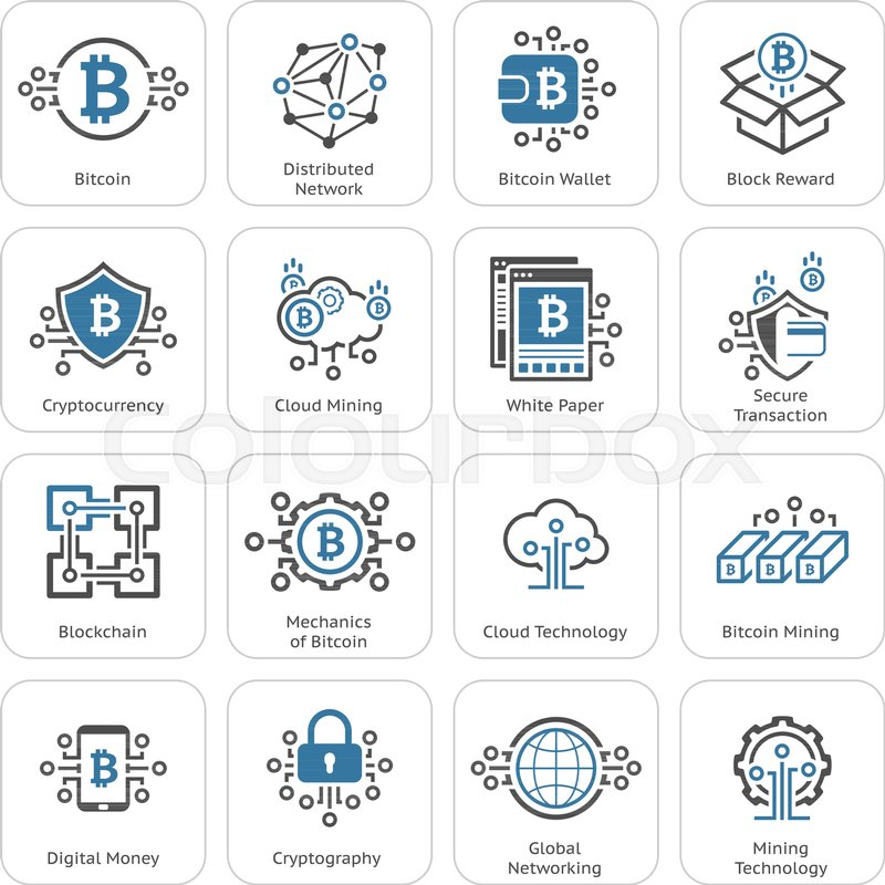Blockchain Cryptocurrency Icons. Modern computer network technology ...