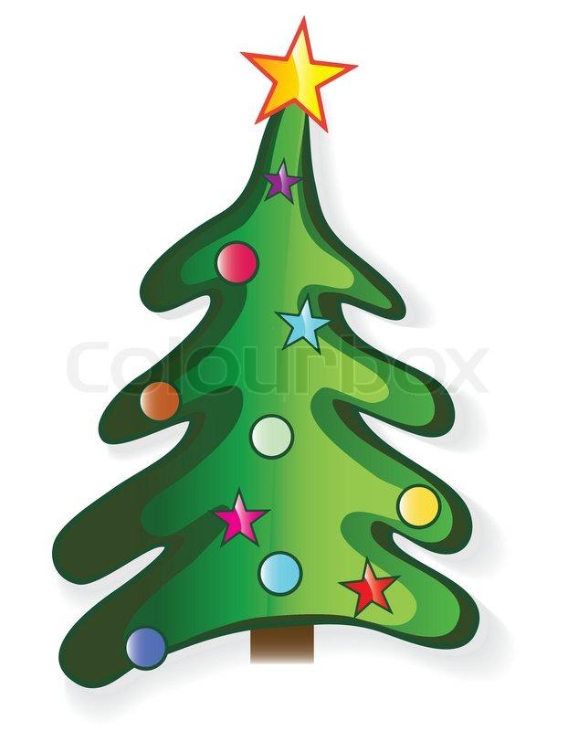 Icon christmas tree with star and ball creative cartoon