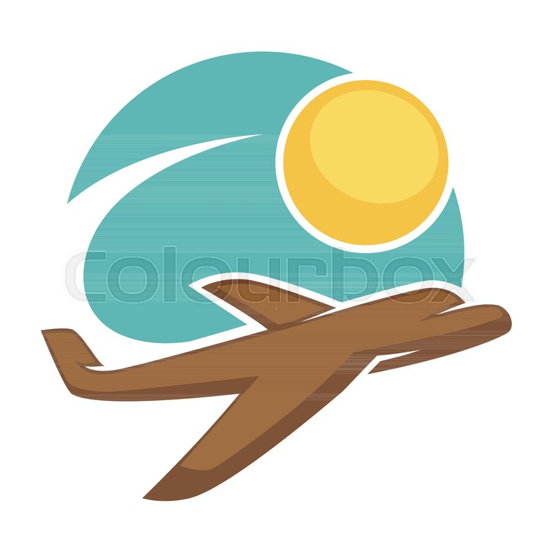 travel agency logo template of airplane in sky and sun vector
