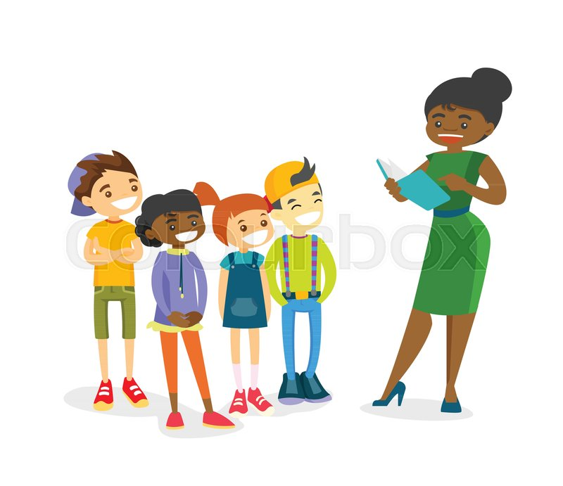 Young african-american teacher reading     | Stock vector