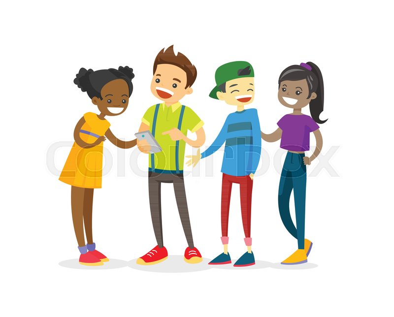 Multicultural Group Of Teenage Friends   Stock Vector -4012