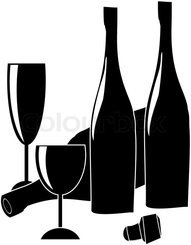 Glass wine bottle, wineglass and cork - vector ...