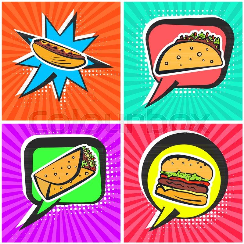 Bright Retro Comic Speech Bubbles With Fast Food Symbols Outline