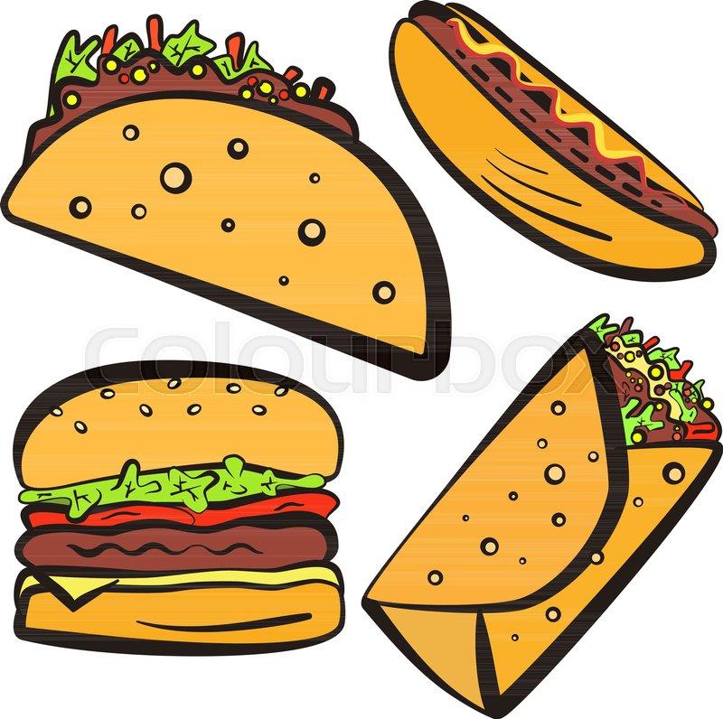 Colorful Fast Food Symbols Set With Black Outline Cartoon Flat
