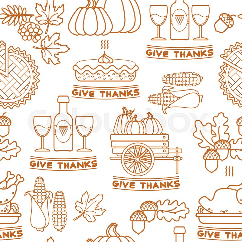 Thanksgiving Holiday Texture Seamless Pattern Thanksgiving Outline