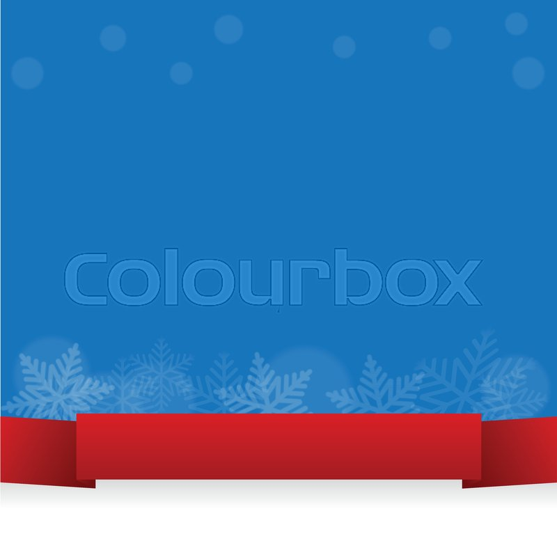 Abstract Snowflake with red ribbon on     | Stock vector