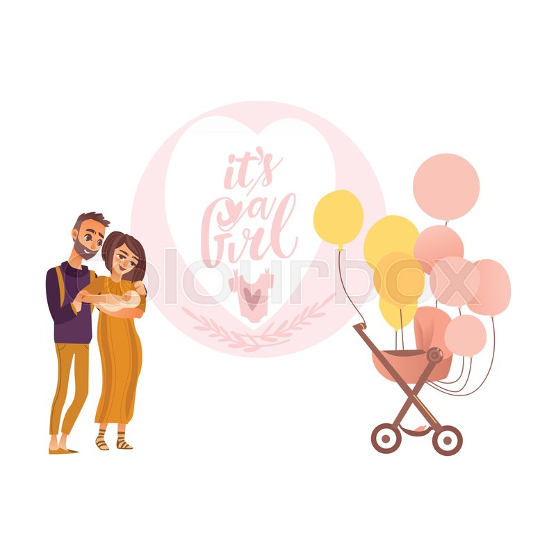 Its a girl greeting card design with parents holding newborn baby its a girl greeting card design with parents holding newborn baby and pram decorated with balloons flat style vector illustration isolated on white m4hsunfo