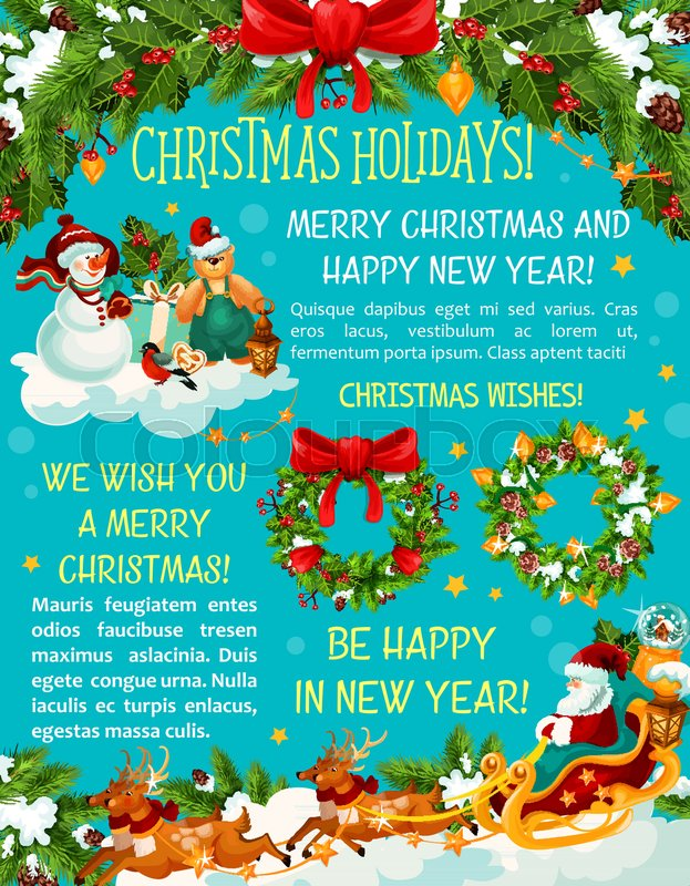 Merry christmas winter season greeting card for happy holiday wishes merry christmas winter season greeting card for happy holiday wishes vector christmas tree lights decoration snowman and santa in sleigh with gifts m4hsunfo