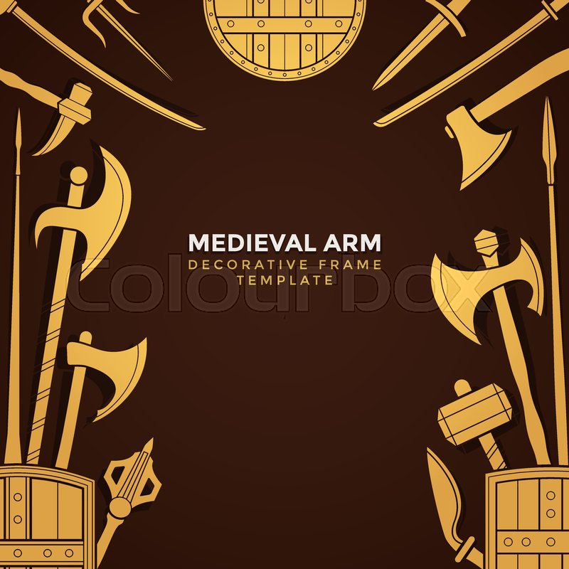 Vector Gold Yellow Color Various Medieval Cold Steel Arms Decorative
