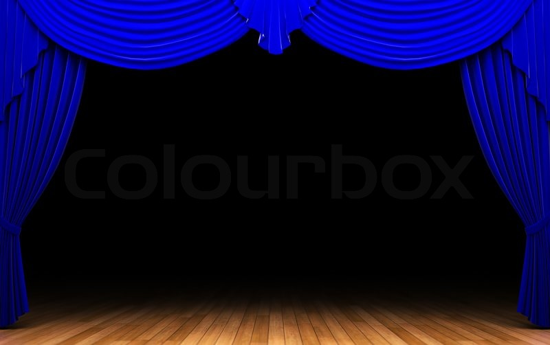 Blue Velvet Curtain Opening Scene Made In 3d Stock Photo