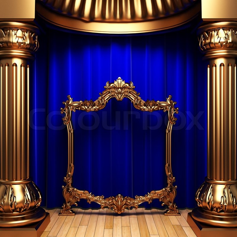 Blue Curtains Gold Columns And Frames Made In 3d Stock
