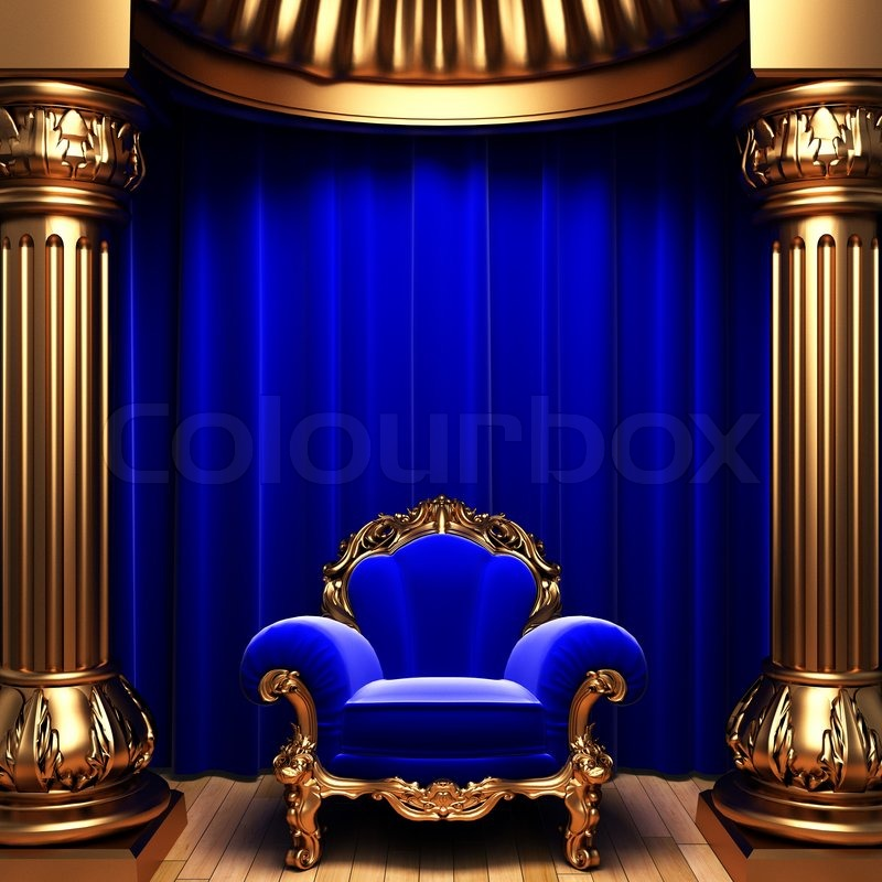 Blue Velvet Curtains, Gold Columns And Chair Made In 3d | Stock Photo |  Colourbox