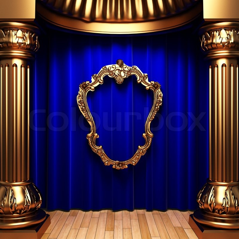 Blue curtains, gold columns and frames made in 3d | Stock Photo ...