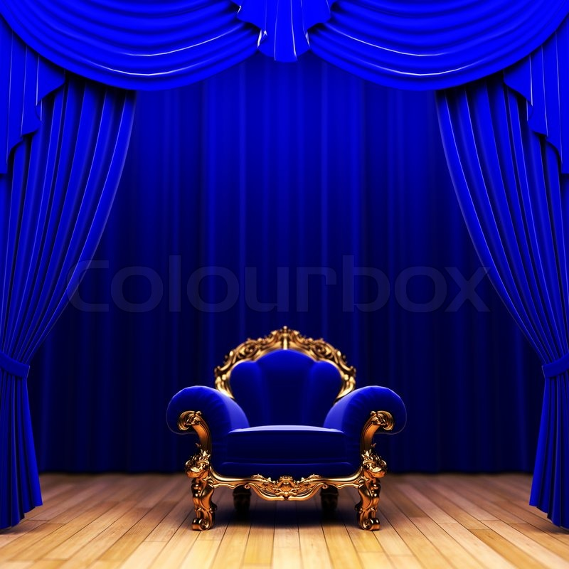 Blue velvet curtain and chair made in 3d stock photo colourbox