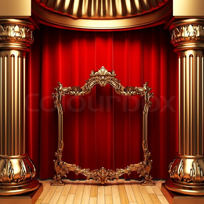 D Art Exhibition Dubai : Red curtains gold columns and frames made in d stock