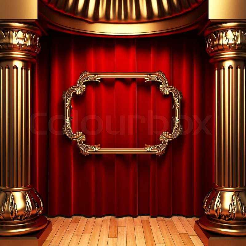 Red Curtains Gold Columns And Frames Made In 3d Stock