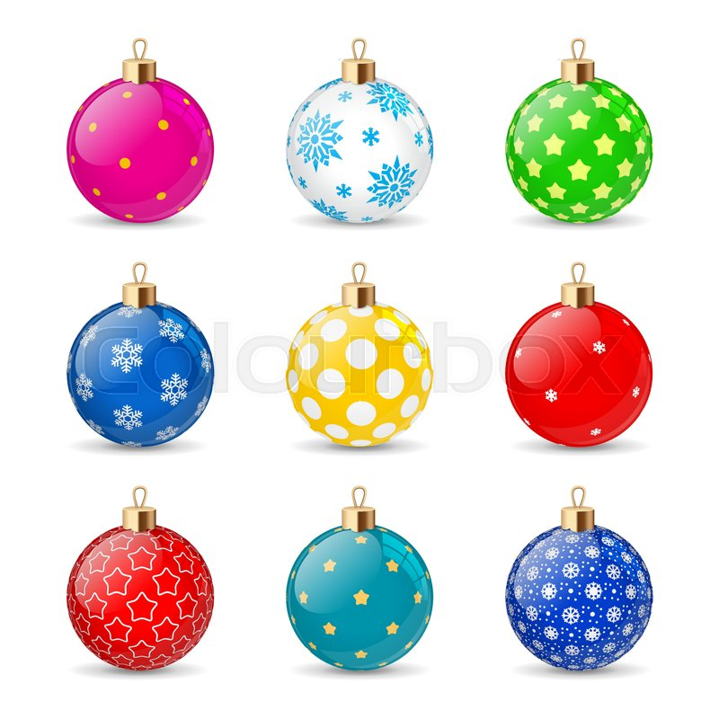 Set Of Color Christmas Balls On A Transparent Background Stocking Decorations Element New Years Vector Object For Design