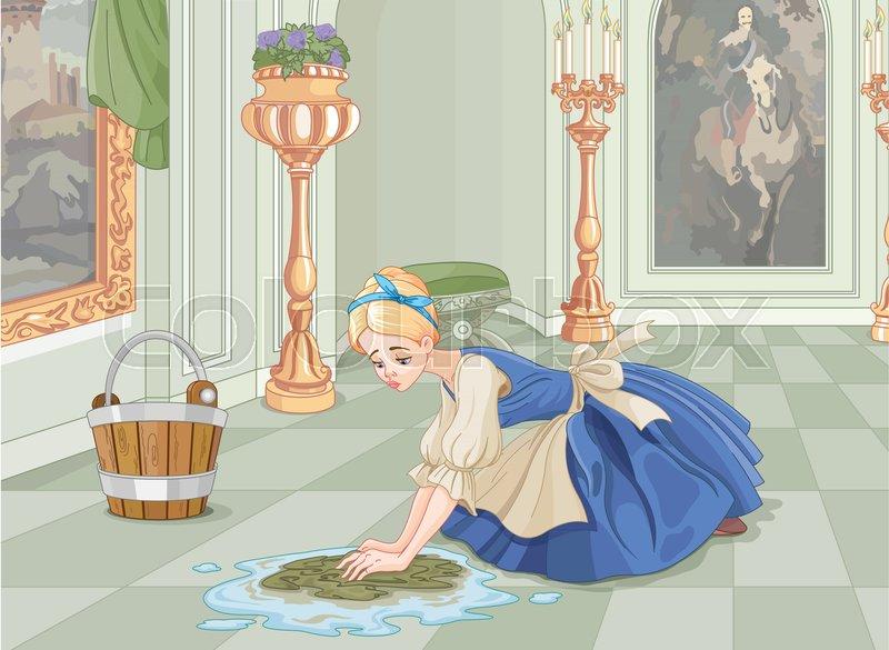 Sad Cinderella cleanin...