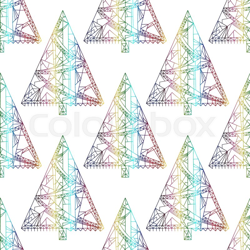 Stock Vector Of Xmas Tree Pattern Abstract Christmas Seamless Background In Modern Style
