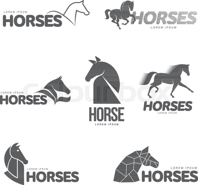 Horse profile graphic logo template, vector illustration on white ...
