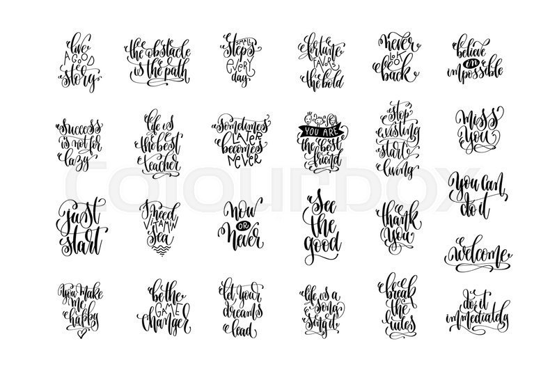 Set Of 60 Handwritten Lettering Inscriptions Positive Quote Enchanting Inspirational Phrases