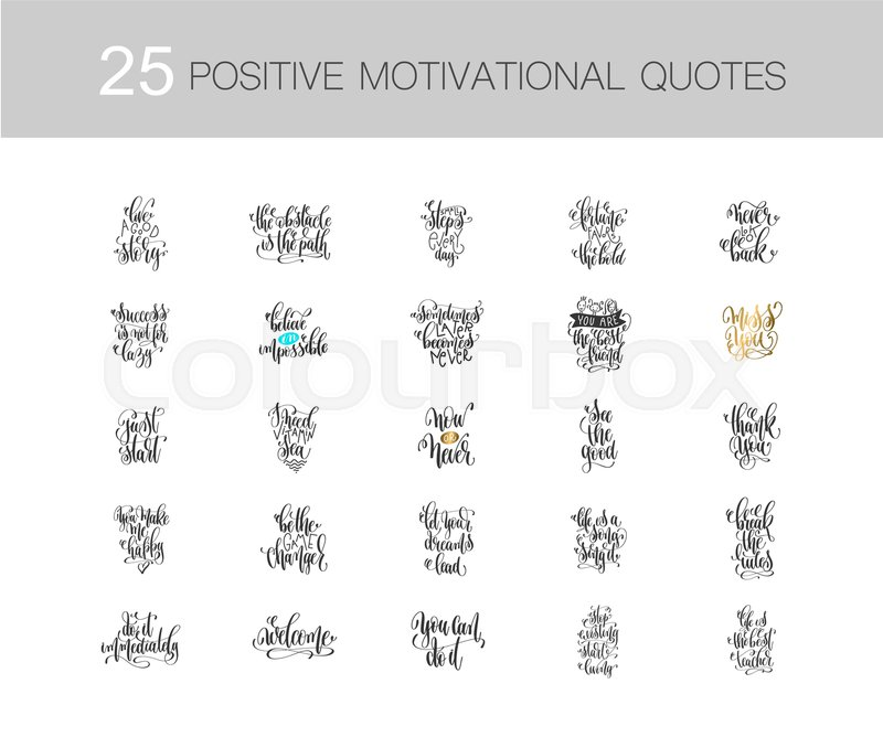 Set Of 60 Handwritten Lettering Inscriptions Positive Quote Mesmerizing Inspirational Phrases