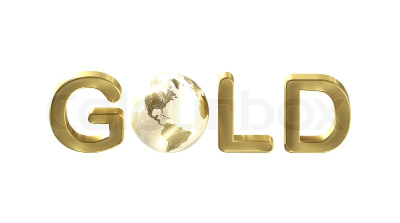 word gold with a planet earth as the letter isolated on white